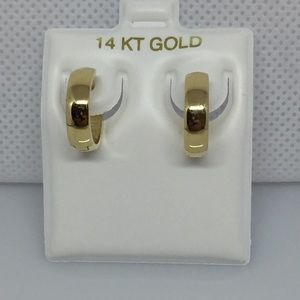 14k solid gold high polish huggie hoop earrings